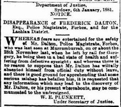 Government notice seeking information on Dalton's whereabouts. It was reprinted over January 1881 in most metropolitan newspapers in the colony.