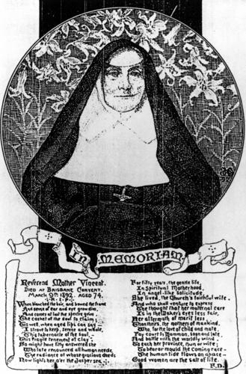 Mother Vincent Whitty, memorial card